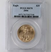 2004 American Gold Eagle G25 Pcgs Certified Ms70 1/2oz Age