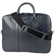 Pre-owned 435322 486628 Shima Business Bag Navy Leather Free Shipping