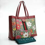 Pre-owned 547947 Hwhac 8722 Flora Tote Bag Beige Red Pvc Canvas F/s