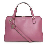 Pre-owned 391987 Lady 2way Handbag Puple Pink Leather Free Shipping