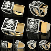 Fashion Mens Two Tone 925 Silver Rings Lion Skull Party Gifts Jewelry Size 7-13