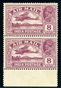 India 1929 Kgv Air Mail 8a Purple Missing Tree-top Variety Mlh. Sg 224, 224a.