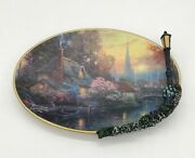 🏠  Thomas Kinkade Nanette's Cottage Glow In The Dark Plate W/ Lamp Post A0036