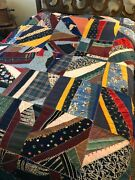 Vintage 40and039s-50and039s Crazy Quilt Patchwork Quilt Blanket 62x82