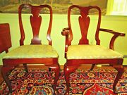 4 Hickory Queen Anne Chairs ,amber Mahogany , Sold To Wandj Sloane Ny 1925