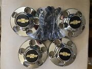 Vintage Gm Chevy Truck Chrome 5 Lug Wheel Center Caps With Nuts