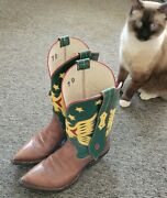 Beautiful Billy Martin Cowboy Boots - Womens Sz 7 Dbrown Retro Pee Wee Mule Ears
