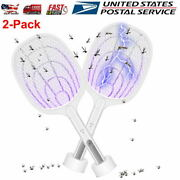 2-pack Bug Zapper Lamp Racket 2 In 1 Electric Mosquito Killer Fly Swatter 3000v