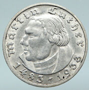 1933 Germany Martin Luther Theology Reformation Church Silver 2 Mark Coin I89686