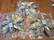 Pottery Barn Christmas Gold Glitter Poinsettia Tree Clips Set Of 3 New Sold Out