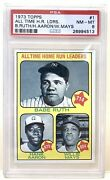 1973 Topps 1 All Time Home Run Leaders Hr B.ruth/h.aaron/w.mays Psa 8 Nm-mt