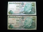 Portugal 20 Escudos 1978 Pair 89036 Bank Currency Banknote Money