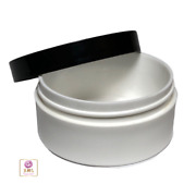 White Plastic Cosmetic Jars Low Profile Wide Mouth Black Lid 2 Oz 18 9335
