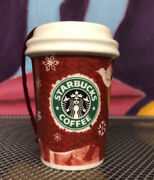Starbucks Mini 2008 Holiday Red Cup Ornament Snowflakes Dove And Reindeer