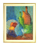 Vintage Mid Century Modern Abstract Oil Painting Still Life W Bottles Stackler