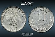 Mexico ✮ 1903 Cn Q ✮ 10 Centavos ✮ Ngc Ms 62 ✮ Uncirculated ✮ Sharp And Lustrous ✮