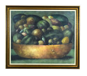 Large Vintage Abstract Soft Focus Still Life Painting Bowl Fruit Sgd Chapman