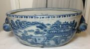 Large Antique Chinese Blue And White Oval Porcelain Pot W/ Peach And Flower Handles