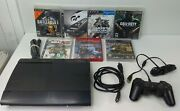 Sony Playstation 3 Ps3 Super Slim 250gb Bundle Cleaned And Tested Cech-4001b