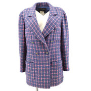 95a 36 Cc Button Double Breasted Long Sleeve Jacket Tweed Blue 60199