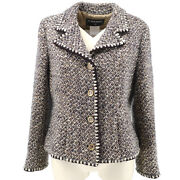 01a 42 Cc Button Single Breasted Long Sleeve Jacket Tweed Brown 60207