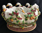 14andrdquo Fitz And Floyd 7 Swans A Swimming 12 Days Of Christmas Centerpiece Bowl