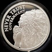 1 Oz .999 Silver Shield Proof Never Trust Government Sioux Lakota Native Truth