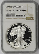 2000-p American Silver Eagle 1 Proof Pf 69 Ultra Cameo Ngc