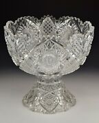 Large American Brilliant Period Cut Glass Punch Bowl And Stand 14
