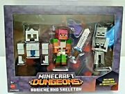 Minecraft Dungeons Adriene And Skeleton Action Figure Set By Mattel Mojang New