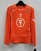 2004-05 Holland Home L/s No.9 Van Nistelrooy Player Issue Usa America Jersey