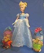 """Cinderella 12"""" Doll And 2 Ornaments – Jaq – Gus – 1987 Mcdonalds – Vg Condition"""