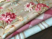 Antique Vintage French Fabrics Coordinated Bundle For Projects Floral Vichy