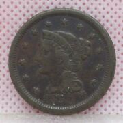 1850 Braided Hair Large Cent One Cent