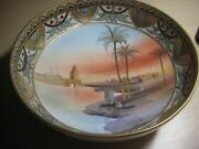 Vintage Nippon Porcelain 3 Footed Bowl Hand Painted 8 1/2