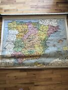 Huge Portugal Spain Antique Canvas Lined Map School Pull Down Spanish Political