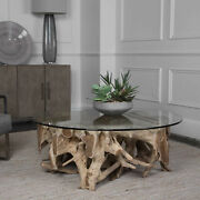 46 W Coffee Table Thick Round Glass Top Freeform Teak Wood Root Base Modern