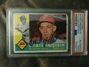 1960 Topps Baseball Card Sparky Anderson Autographed Psa Authentic