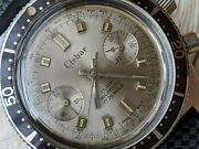 Vintage Clebar 20 Atm Divers Chronograph W/all Ss Casetropic Strapruns Strong