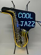Neon Light Wall Display Sign Vintage Saxophone Music Cool Jazz Vintage