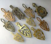 Collection Of 10 Antique And Vintage Brass Flat Iron Trivets / Victorian Stand