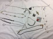 Junk Drawer Jewelry Lot Silver Toned Single Earrings Necklaces