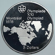 1973 Canada Elizabeth Ii Olympics Montreal World Map Proof Silver 5 Coin I89977