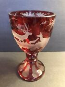 Antique Ruby Bohemian Glass Goblet/ Beaker/ Stag/ Forest/ C.1900/ Cut To Clear