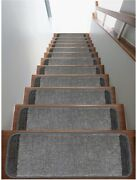 Safe Steps Collection Non Slip Area Rug Stair Tread 13-pack, Gray/fume, 9x26