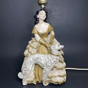 Vintage Woman With Dog Chalkware Lace Tv Table Lamp Mid Century Modern