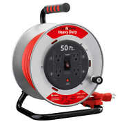 Heavy Duty Professional Grade Metal Cord Reel 50 Ft. 12 Awg Sjtw Extension Cord