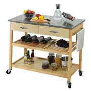 Kitchen Islands Carts With Wheels Stainless Steel Counter Top 3 Tier Rolling