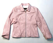 Baby Pastel Pink Leather Jacket Womenand039s Size S Small Zip Coat Argentinian
