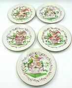 Vintage 1965 Set Of Five French Made Faience St Clement Painted Rooster Plates